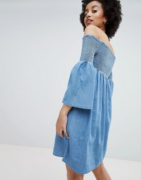 photo Denim Smock Dress by Only, color Blue - Image 2