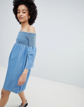 photo Denim Smock Dress by Only, color Blue - Image 1