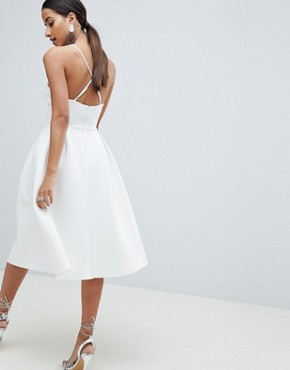 photo Scuba Cami Prom Midi Dress by ASOS DESIGN, color Ivory - Image 2