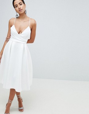 photo Scuba Cami Prom Midi Dress by ASOS DESIGN, color Ivory - Image 1