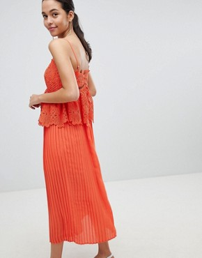 photo Pleated Lace Midi Dress by Liquorish, color Orange - Image 2