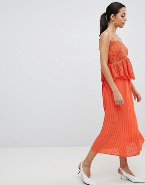 photo Pleated Lace Midi Dress by Liquorish, color Orange - Image 1