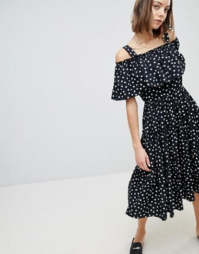 photo Spot Cold Shoulder Maxi Dress by Vero Moda, color Black Dots - Image 1