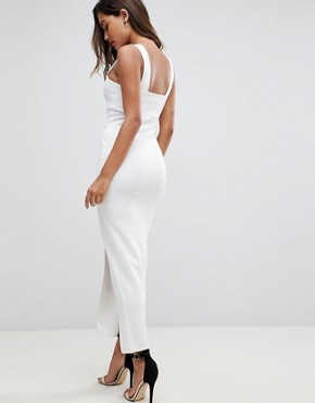 photo Square Neck Scuba Maxi Dress with Thigh Split by ASOS, color Ivory - Image 2