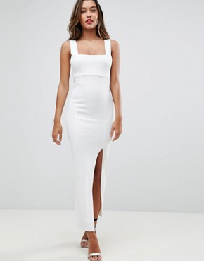 photo Square Neck Scuba Maxi Dress with Thigh Split by ASOS, color Ivory - Image 1