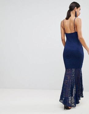 photo Deep Plunge Lace Bodycon Maxi Dress with Fishtail by ASOS DESIGN, color Navy - Image 2