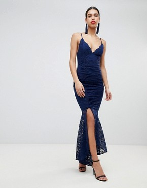photo Deep Plunge Lace Bodycon Maxi Dress with Fishtail by ASOS DESIGN, color Navy - Image 1