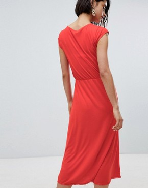 photo Midi Dress with Trim by Vero Moda, color Red - Image 2