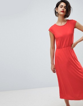 photo Midi Dress with Trim by Vero Moda, color Red - Image 1