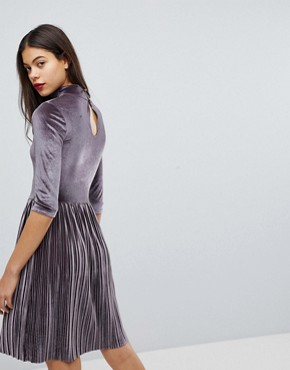 photo Pleated High Neck Velvet Dress by Club L, color Lilac Grey - Image 2