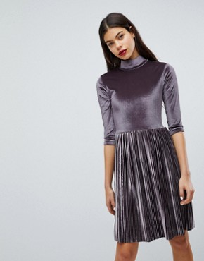 photo Pleated High Neck Velvet Dress by Club L, color Lilac Grey - Image 1