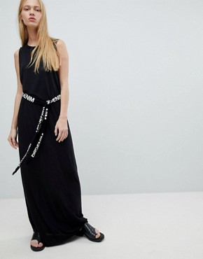 photo Maxi Jersey Dress with Logo Belt by Dr Denim, color Black - Image 1