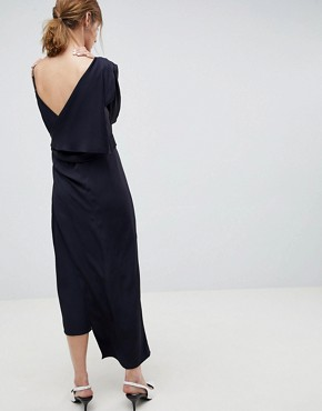 photo 2 in 1 Dress with Drape Detail by ASOS WHITE, color Navy - Image 2