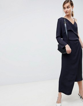 photo 2 in 1 Dress with Drape Detail by ASOS WHITE, color Navy - Image 1