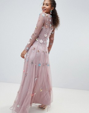 photo 3D Embellished Maxi Dress by ASOS EDITION Tall, color Lilac - Image 2