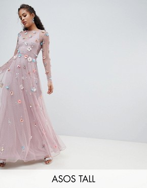 photo 3D Embellished Maxi Dress by ASOS EDITION Tall, color Lilac - Image 1