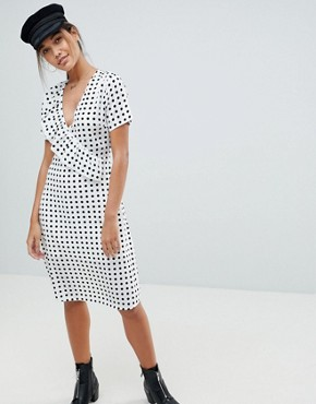 photo Polka Dot Midi Dress by Missguided, color White - Image 1