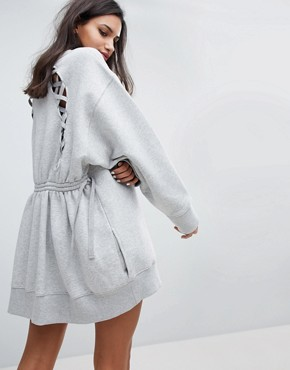 photo Lace Back Sweat Dress by Gigi Hadid by Tommy Hilfiger, color Light Grey - Image 1