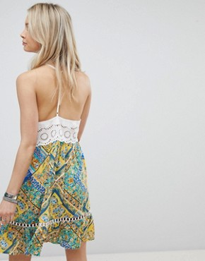 photo Button Down Cami Dress with Contrast Scarf Print by Kiss the Sky, color Multi - Image 2