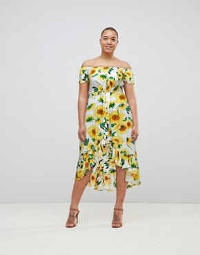 photo Off the Shoulder Button Front Midi Tea Dress in Sunflower Print by Kiss the Sky, color Yellow Multi - Image 1