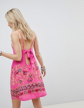 photo Cami Dress with Floral Embroidery by Kiss the Sky, color Pink - Image 2