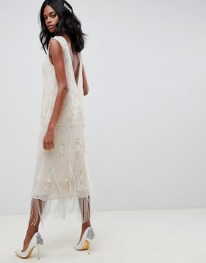 photo Fringe Embellished Midi Wedding Dress with a Low Back by ASOS EDITION, color Oyster - Image 2