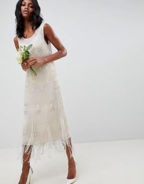 photo Fringe Embellished Midi Wedding Dress with a Low Back by ASOS EDITION, color Oyster - Image 1