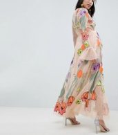 photo Maternity Embroidered Floral Maxi Dress in Dobby Spot by ASOS EDITION, color Pink - Image 2