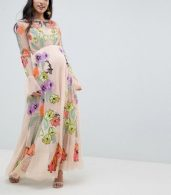 photo Maternity Embroidered Floral Maxi Dress in Dobby Spot by ASOS EDITION, color Pink - Image 1