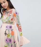 photo Maternity Embroidered Floral Maxi Dress in Dobby Spot by ASOS EDITION, color Pink - Image 3