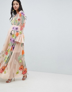 photo Maternity Embroidered Floral Maxi Dress in Dobby Spot by ASOS EDITION, color Pink - Image 4