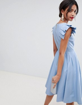 photo Frill Midi Length Dress by Ted Baker, color Pale-Blue - Image 2