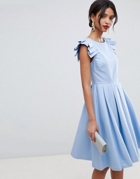photo Frill Midi Length Dress by Ted Baker, color Pale-Blue - Image 1