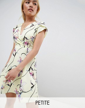 photo Bright Floral Tea Dress by Vero Moda Petite, color Yellow - Image 1