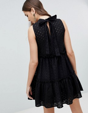 photo Sleeveless Broderie Trapeze Dress by ASOS TALL ULTIMATE, color Black - Image 2