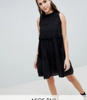 photo Sleeveless Broderie Trapeze Dress by ASOS TALL ULTIMATE, color Black - Image 1