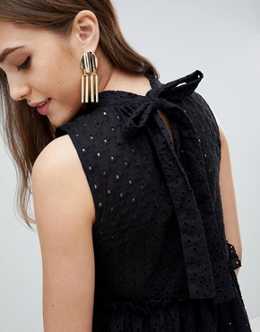 photo Sleeveless Broderie Trapeze Dress by ASOS TALL ULTIMATE, color Black - Image 3