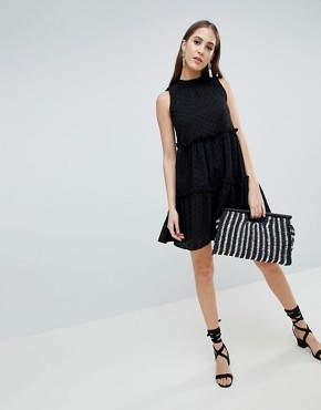 photo Sleeveless Broderie Trapeze Dress by ASOS TALL ULTIMATE, color Black - Image 4