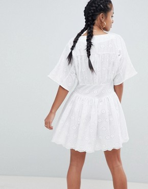 photo Tea Dress in Broderie by ASOS PETITE, color White - Image 2