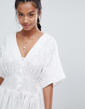 photo Tea Dress in Broderie by ASOS PETITE, color White - Image 3
