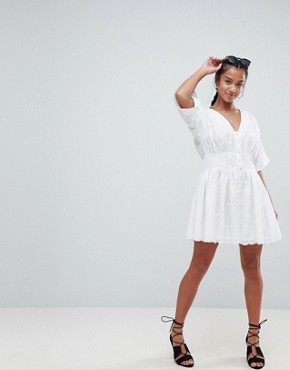 photo Tea Dress in Broderie by ASOS PETITE, color White - Image 4