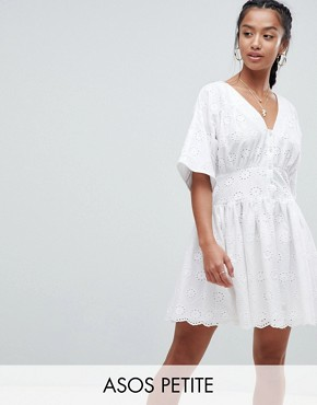 photo Tea Dress in Broderie by ASOS PETITE, color White - Image 1