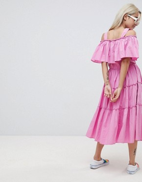 photo Tiered Off Shoulder Midi Dress by Vero Moda Petite, color Pink Solid - Image 2