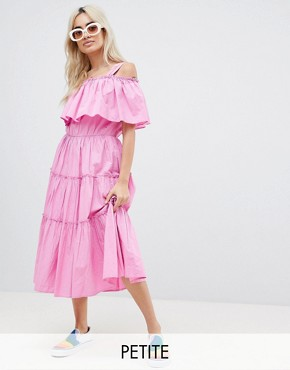 photo Tiered Off Shoulder Midi Dress by Vero Moda Petite, color Pink Solid - Image 1