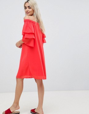 photo Off Shoulder Dress with Tiered Sleeve by Vero Moda Petite, color Red - Image 2