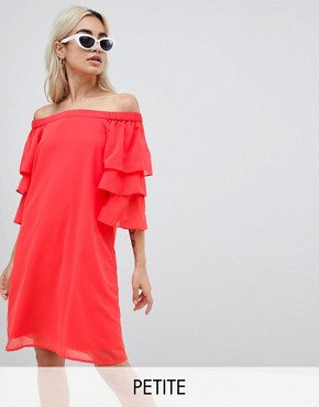 photo Off Shoulder Dress with Tiered Sleeve by Vero Moda Petite, color Red - Image 1