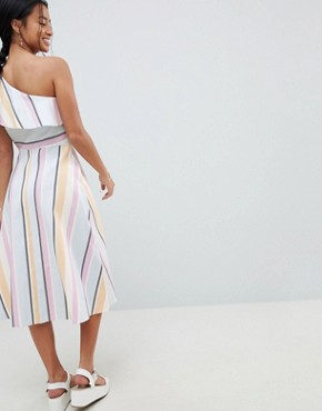 photo One Shoulder Pastel Stripe Midi Dress by ASOS DESIGN Petite, color Multi - Image 2