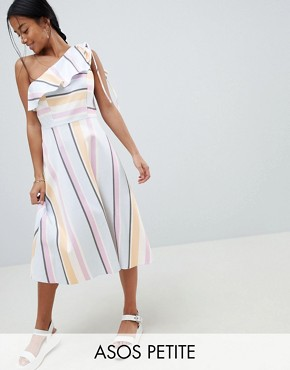 photo One Shoulder Pastel Stripe Midi Dress by ASOS DESIGN Petite, color Multi - Image 1