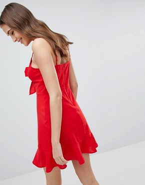 photo Linen Tie Front Skater Mini Sundress by ASOS DESIGN Tall, color Red - Image 2