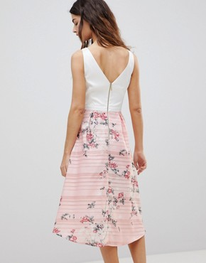 photo 2-In-1 Midi Dress with Floral Skirt by Oasis, color Pink Floral - Image 2